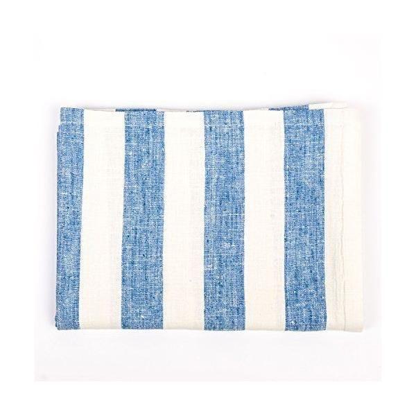 Nappe en lin 132x140 cm blanc cassé/bleu - philippe - linenme (photo)