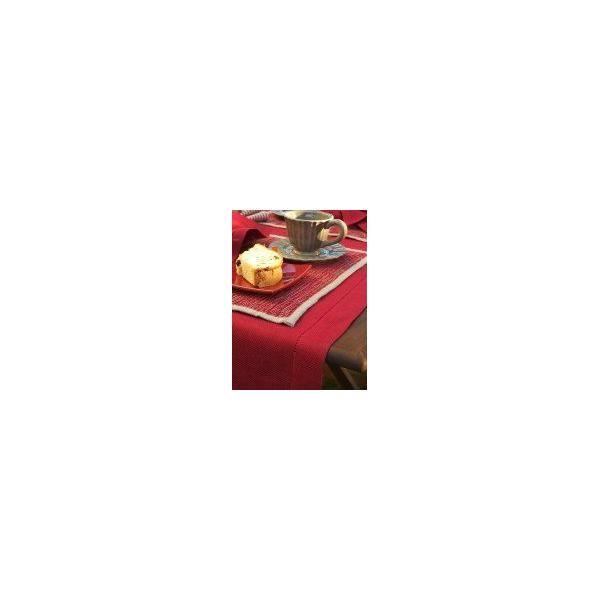 Chemin de table en lin 40x200 cm rouge bordeaux - emilia - linenme (photo)