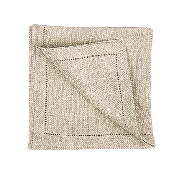 Set de 4 serviettes de table 45x45 cm naturel - emilia - linenme (photo)