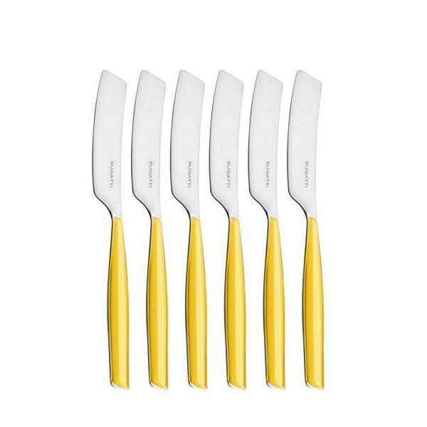 Ménagère 6 pièces tartineur san/acier jaune 16x20x3 cm - glamour - bugatti
