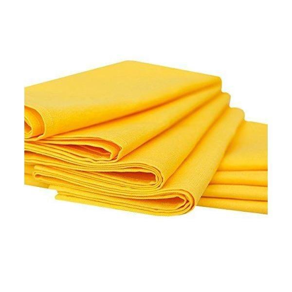 Set de 8 serviettes de table 49x49 cm en lin et coton jaune - paula - linenme (photo)