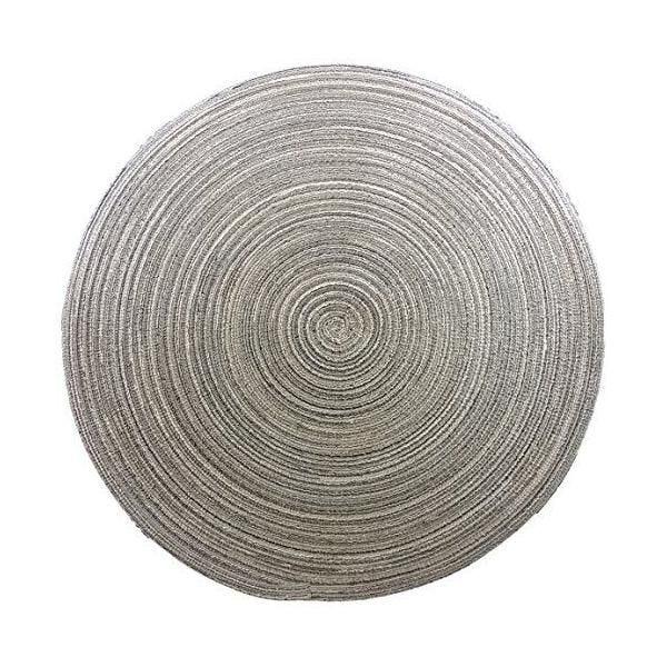 2 set de table rond polyester/nylon taupe diamètre 38 cm-comptoir du linge (photo)