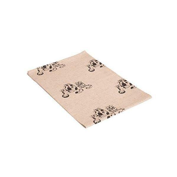Lot de 2 torchons imprimés motif chat couleur naturelle/noir 47x70 cm - vaitkute (photo)