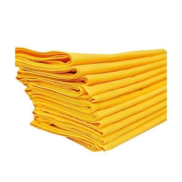 Set de 12 serviettes de table 49x49 cm en lin et coton jaune - paula - linenme (photo)