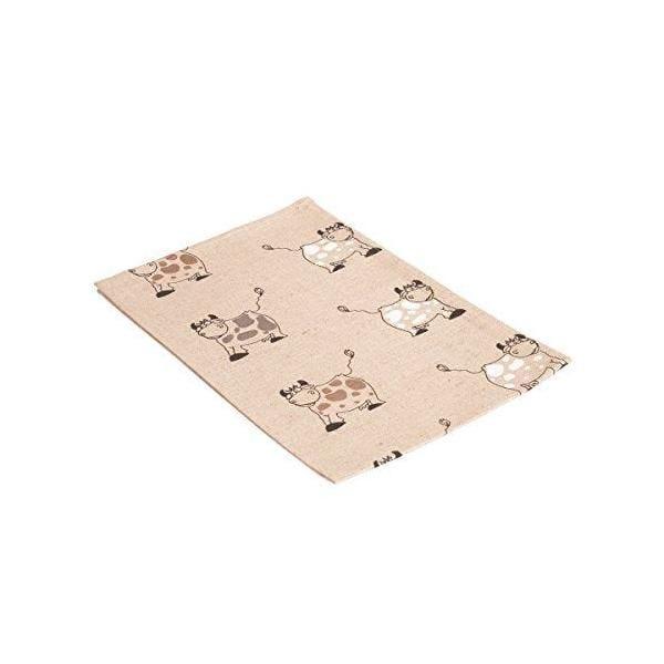 Lot de 2 torchons imprimés motif vache de couleur naturelle 47x70 cm - vaitkute (photo)