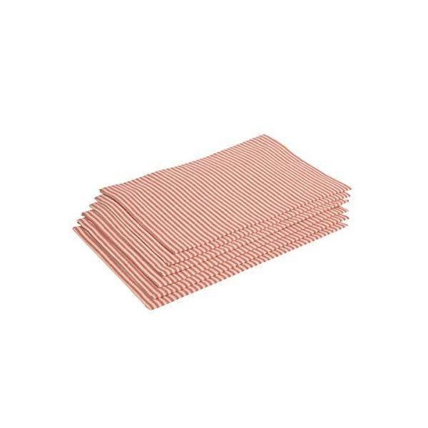 6 serviettes de table  rayures couleur naturelle/rouges 38x50 cm-milda-vaitkute (photo)
