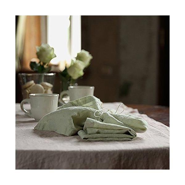 Chemin de table en lin 50x170 cm lavé, aloe green - 10 pièces - linenme