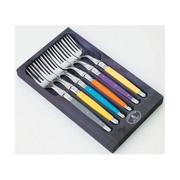 Coffret bois aubergine 6 fourchettes de table - jean dubost - laguiole (photo)