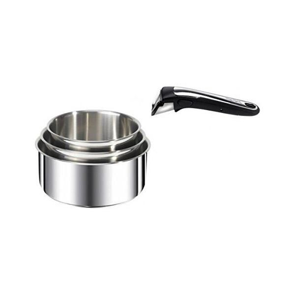 3 casseroles + 1 poignée - ingenio inox série - tefal (photo)