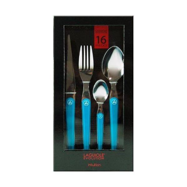 Ménagère 16 pièces acier inox manche abs bleu turquoise - laguiole production (photo)