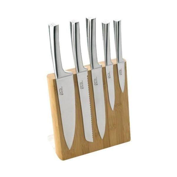 Bloc météor bambou véritable + 5 couteaux de cusine inox - pradel jean dubost (photo)