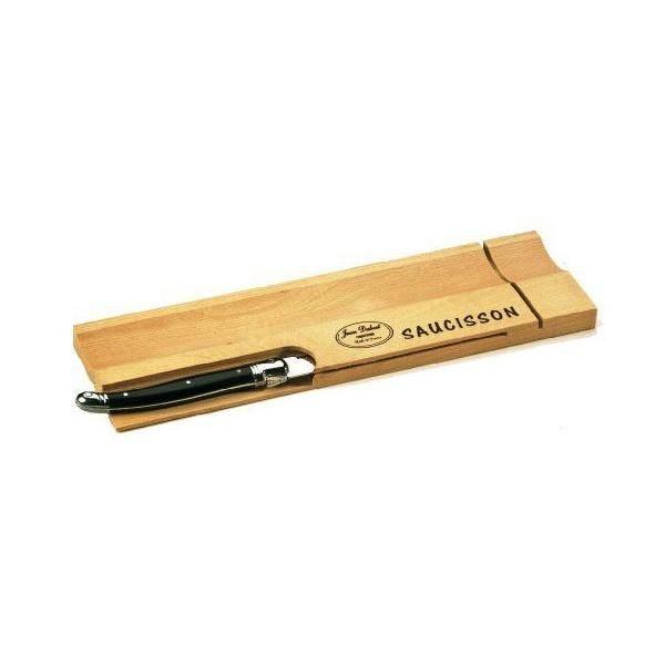 Planchette saucisson 29x1,5x8,5 cm et couteau noir - laguiole jean dubost (photo)