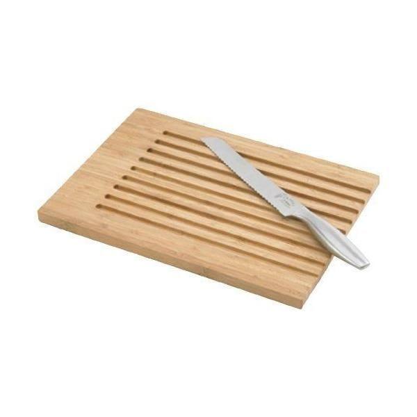 Planche à pain en bambou 36,5x4x27 cm + 1 couteau à pain en acier inox (photo)