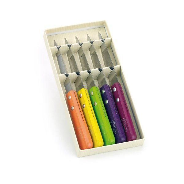 Coffret 5 offices manches bois cérusé coloris mixés - pradel jean dubost (photo)