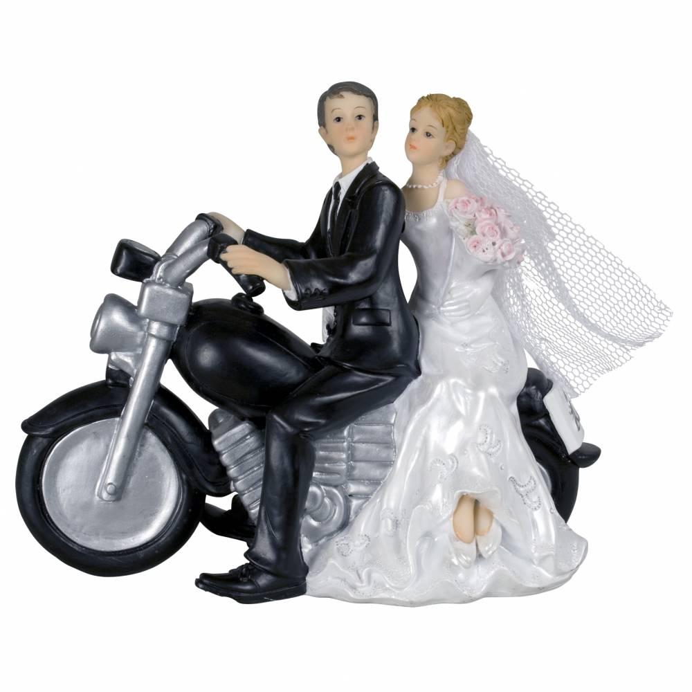 Couple de mariés a moto 13 x 7 x 16 cm - par 6 lots