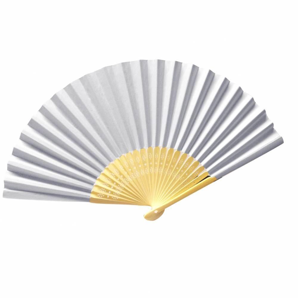 Eventails sur bambou sculpte ø 21 cm papier cartonne blanc - par 12 lots de 3