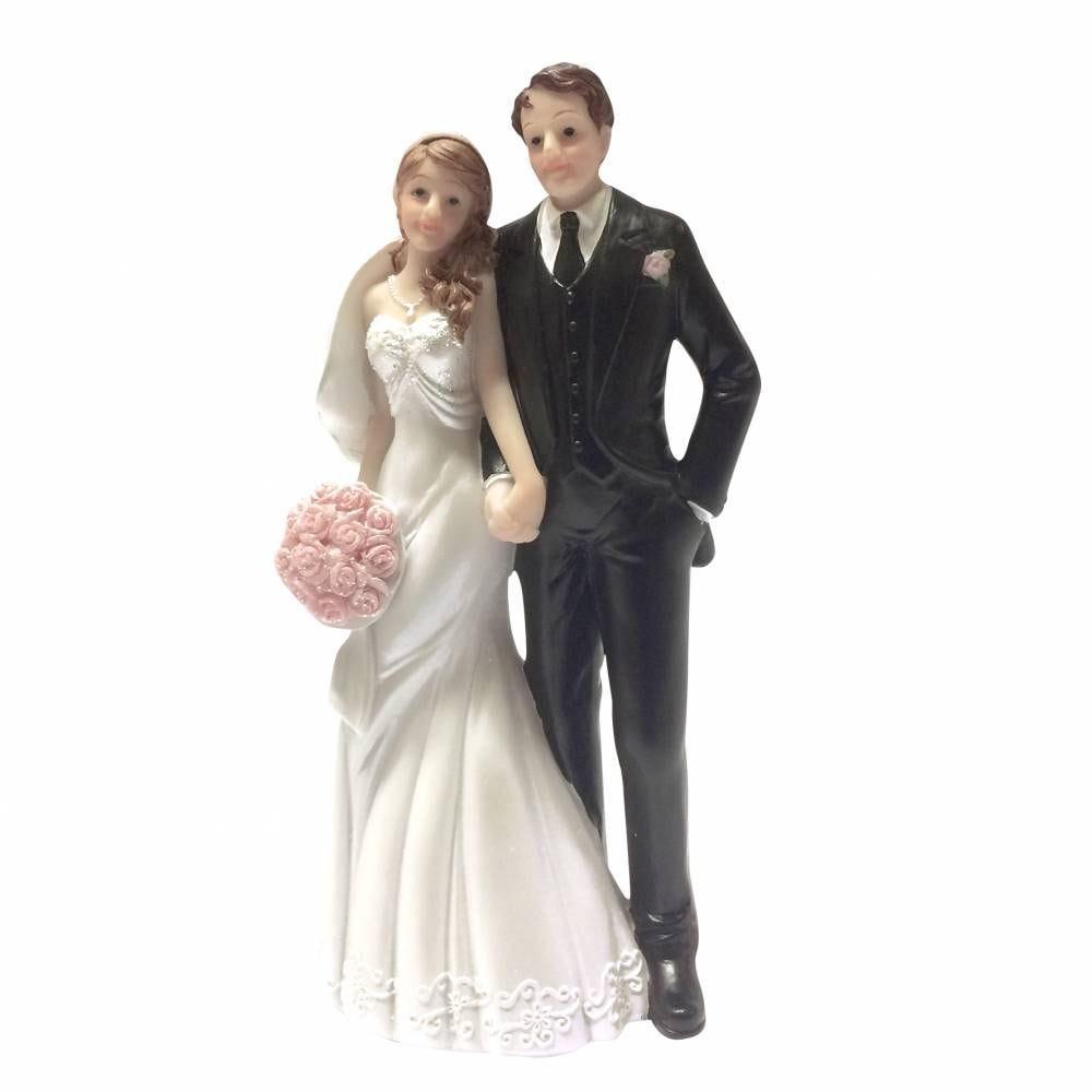 Couple de maries bouquet de roses rose 16 x 7 x 5 cm - par 6 lots de 1