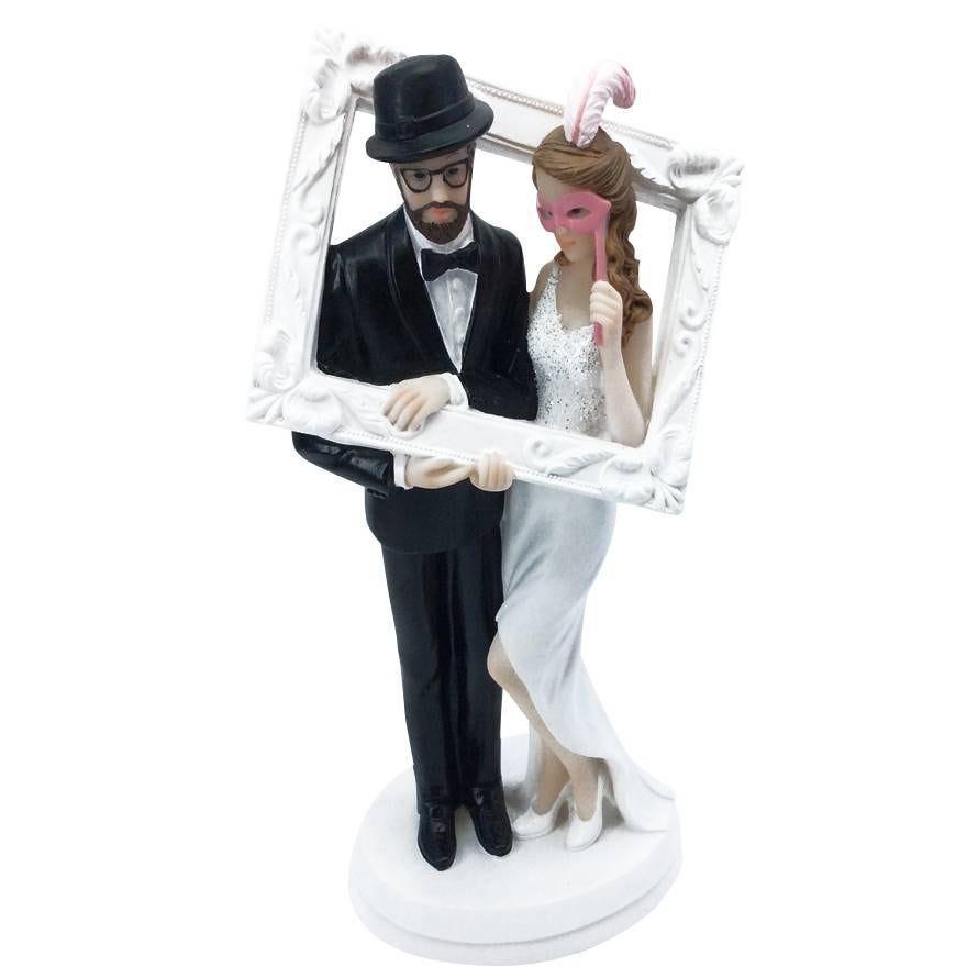 Couple de maries pose dans le cadre 18 x 9,8 x 6,6 cm - par 6 lots de 1