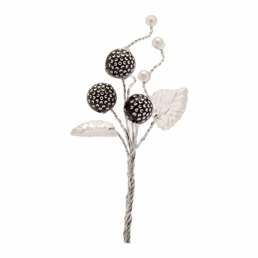 Boules diamantées noir feuilles et perles blanc - par 12 lots de 6