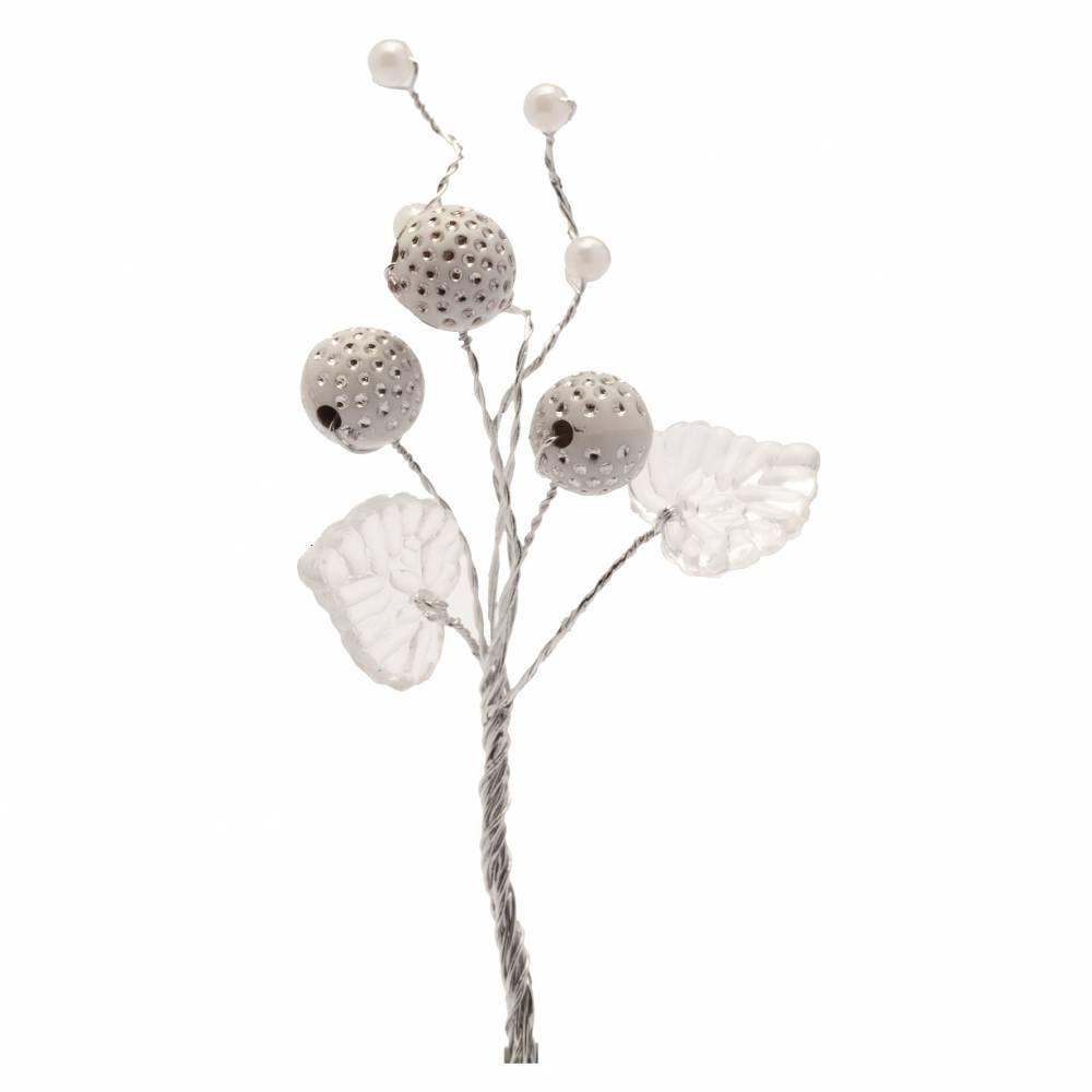 Boules diamantées feuilles et perles blanc - par 12 lots de 6