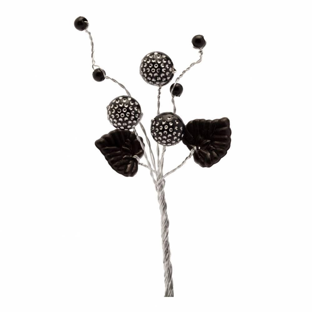 Boules diamantées feuilles et perles noir - par 12 lots de 6
