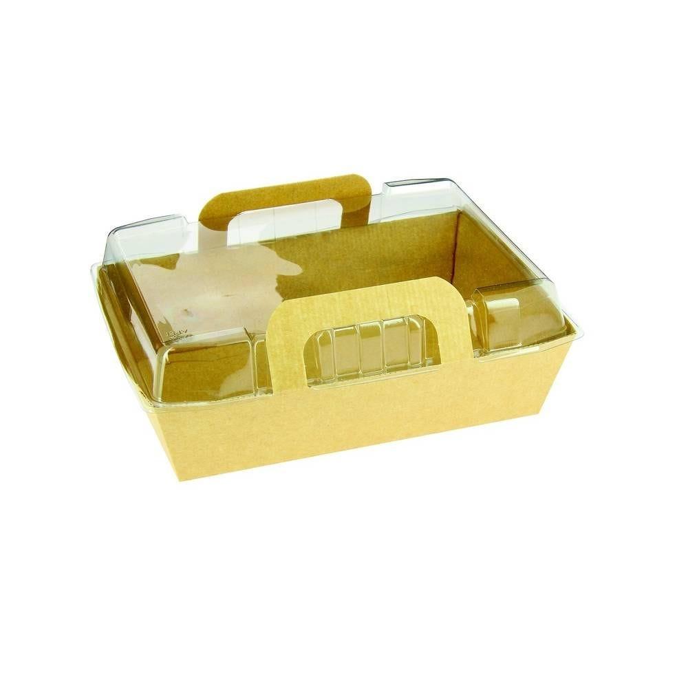 Paniers salade carton kraft brun 750cc 200x145x50 mm + 200 couvercles - par 200