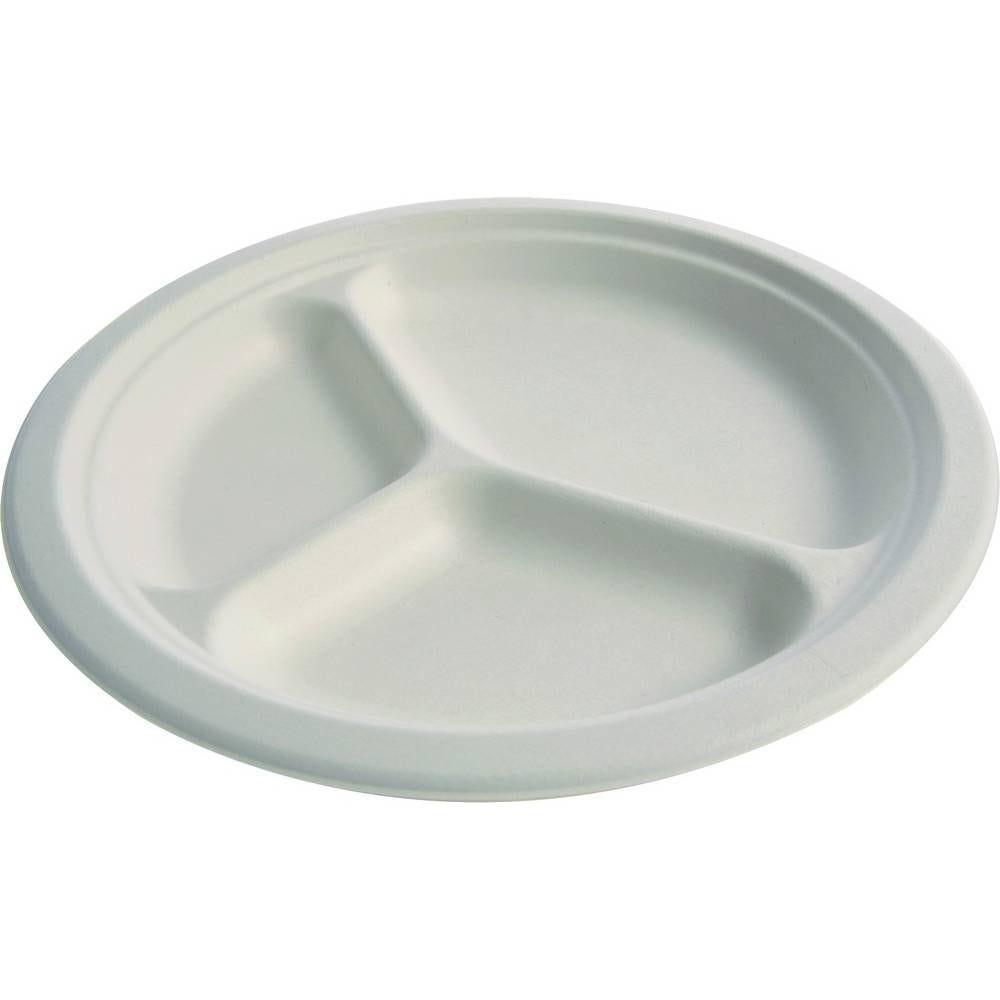 Assiettes pulpe ø 26 cm 3 compart. - par 5 lots de 25