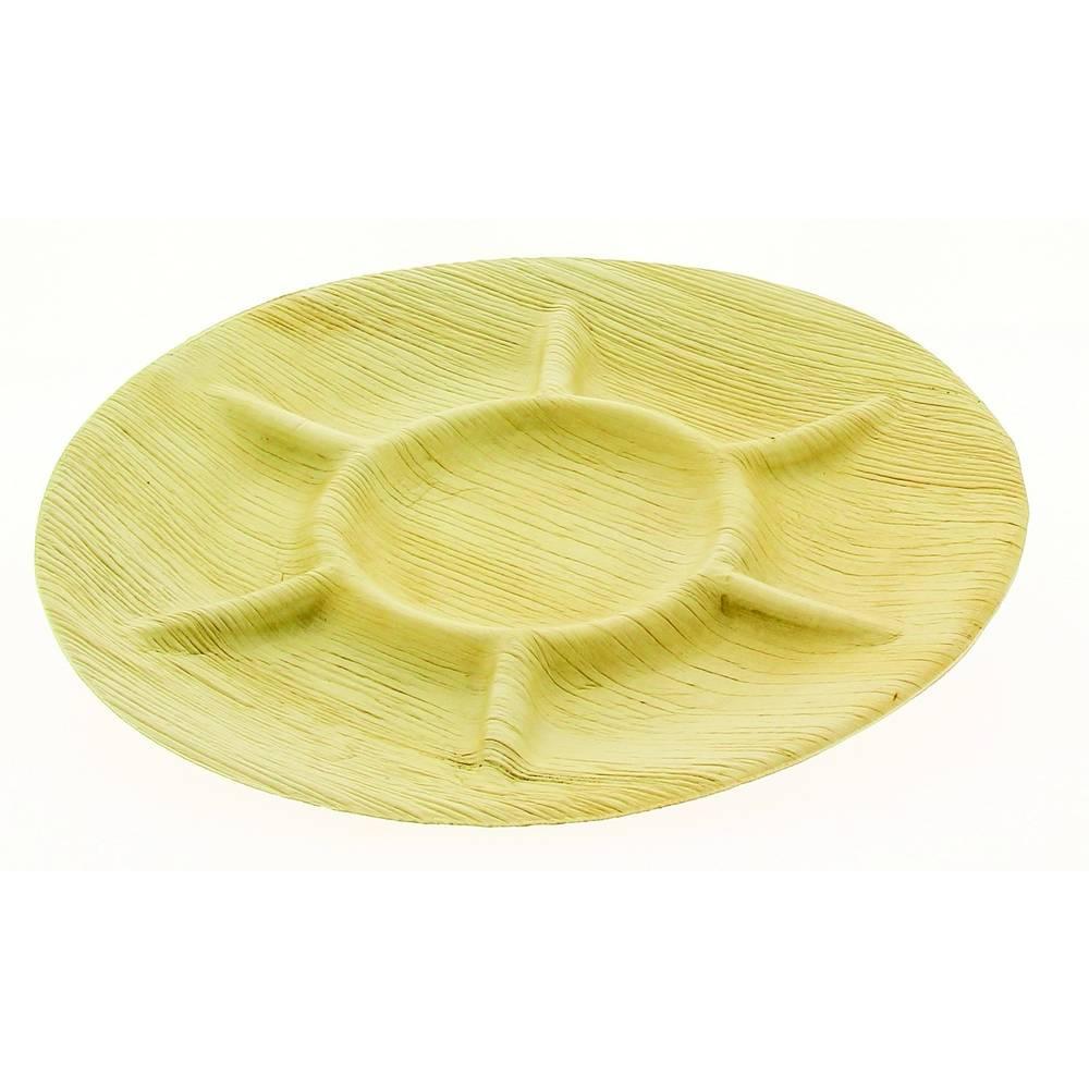 Assiettes palmier presentation ø 300 mm 7 compartiments - par 100