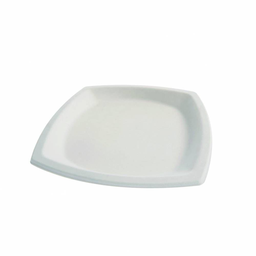 Assiettes carré en pulpe blanc 210 x 210 mm - par 5 lots de 25