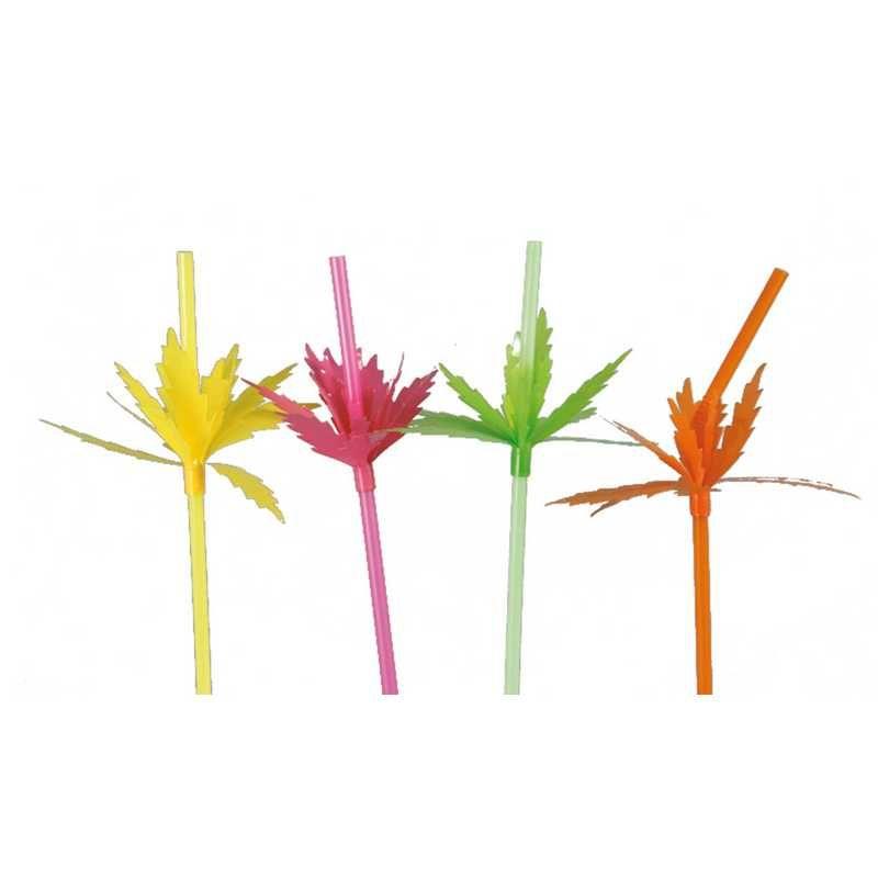 Boite de 100 pailles palmier fluo 24 cm (photo)