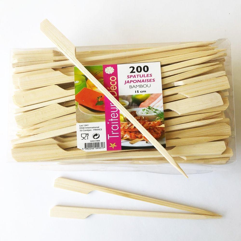 Boite de 200 spatules japonaises bambou 15 cm (photo)
