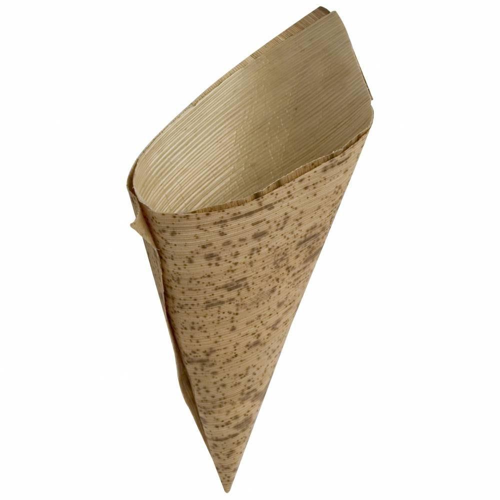 Boite de 100 doubles cornets feuille de bambou ø 8 cm x 15 cm (photo)