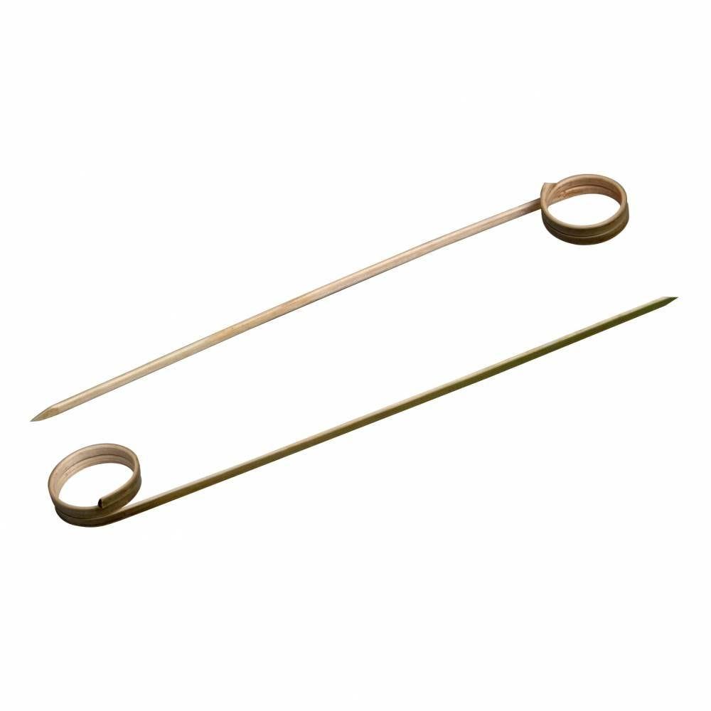 Boite de 100 brochettes droites bambou avec boucle 9 cm (photo)
