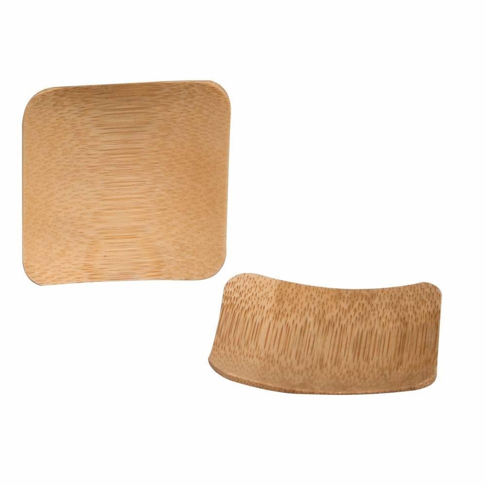 Boite de 10 coupelles carrées 6 x 6 cm en bambou (photo)