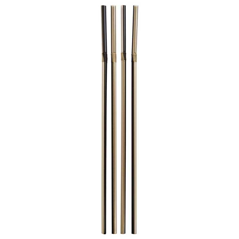 500 pailles métalliques or & noir flexibles 24 cm ø 5 mm (photo)