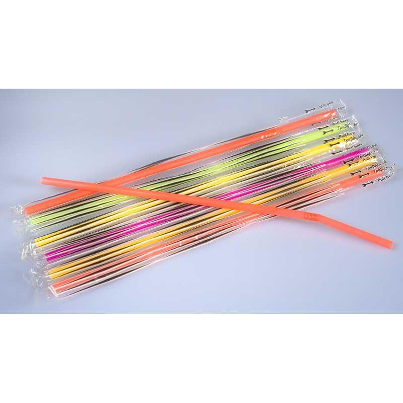 500 pailles fluo flexibles emballées, ind, 24 cm ø 5 mm (photo)
