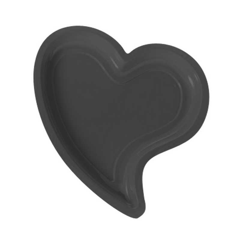 12 assiettes cœur noir -40°/+80° 24 x 22 cm h 1,8 cm (photo)