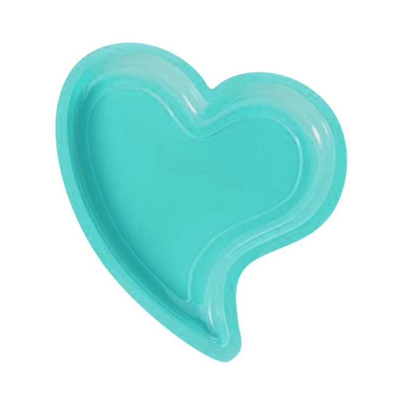 12 assiettes cœur turquoise -40°/+80° 24 x 22 cm h 1,8 cm (photo)