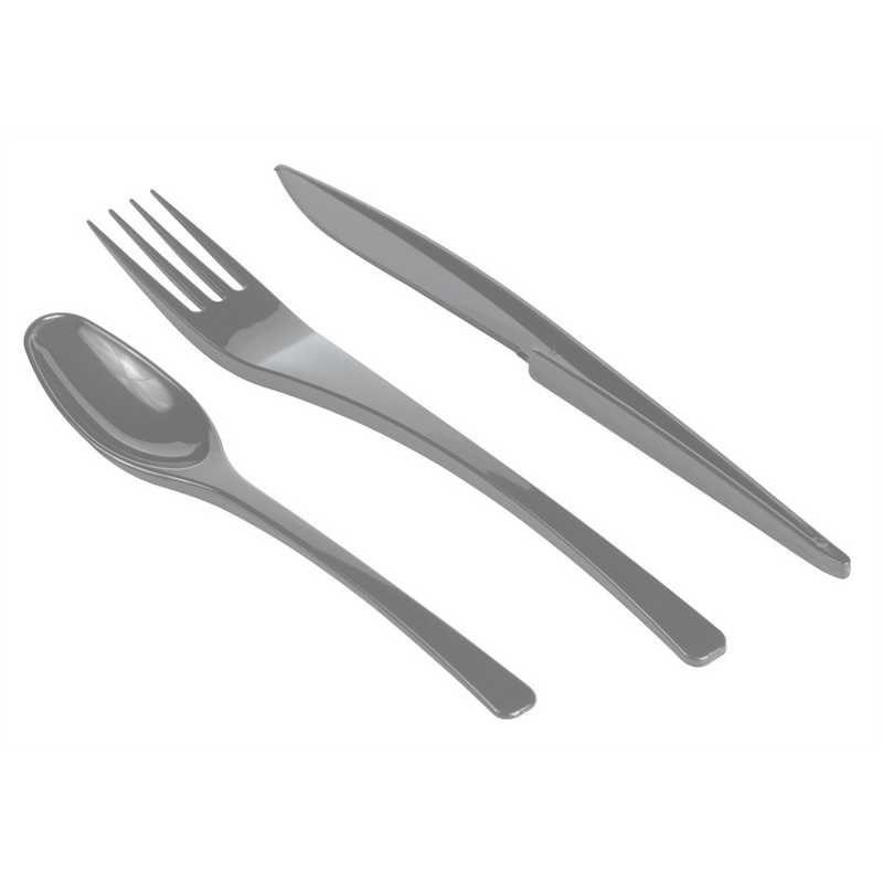 Boite 30 couverts gris argent (10 fourchettes, 10 couteaux, 10 cuillères) (photo)