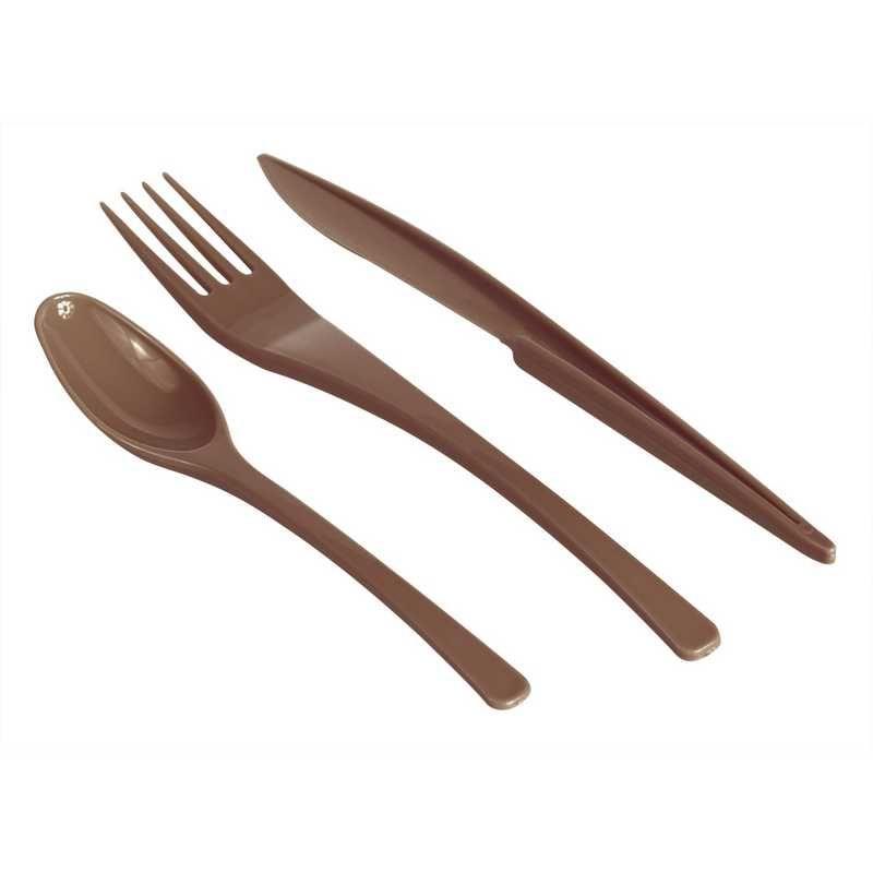 Couverts (10 fourchettes, 10 Couteaux, 10 cuillères) chocolat - par 24 lots de 3