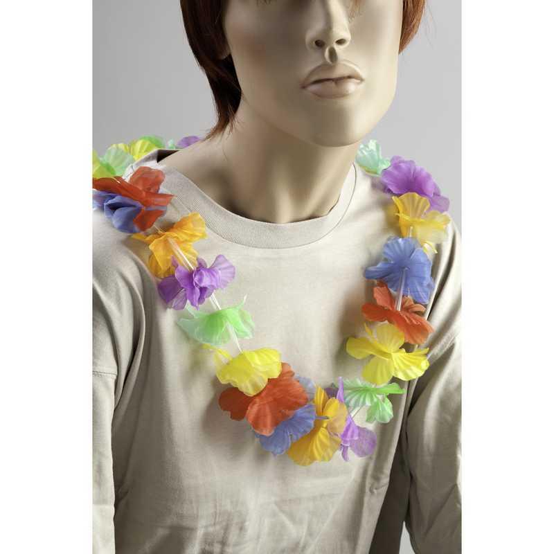 1 collier hawai env. 30 fleurs tissu longueur 1 m (photo)