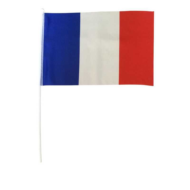 Drapeaux polyester france 30x45 cm avec tige pvc - par 12