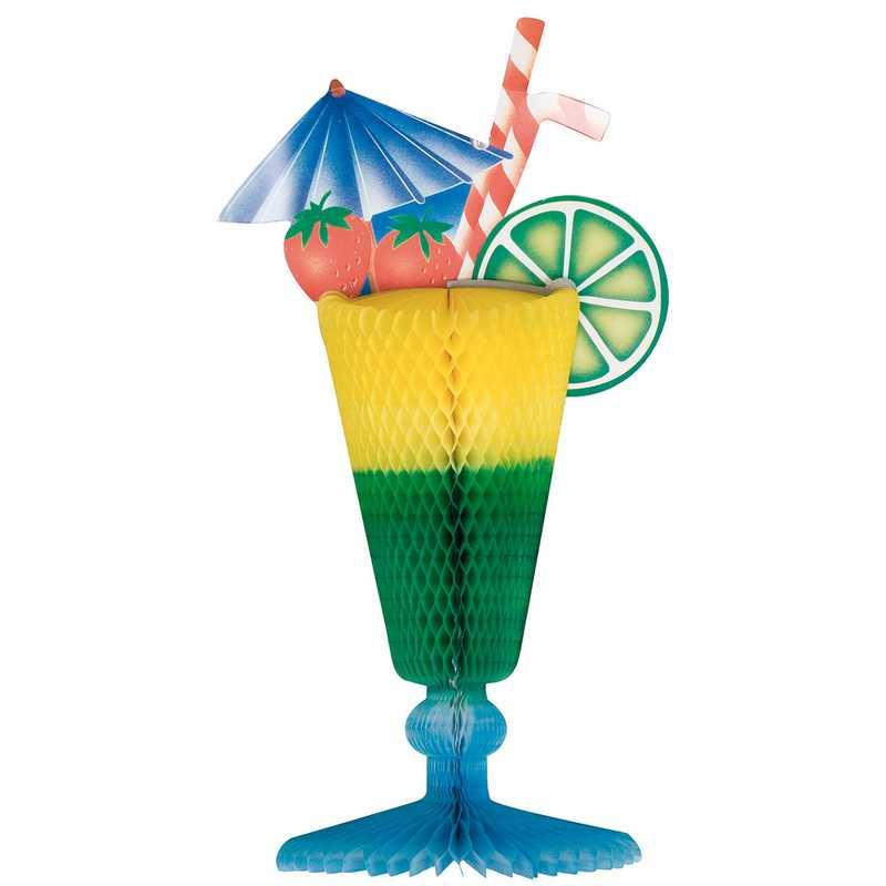 1 coupe cocktail ø 15 x 35 cm verre bleu-vert-jaune (photo)