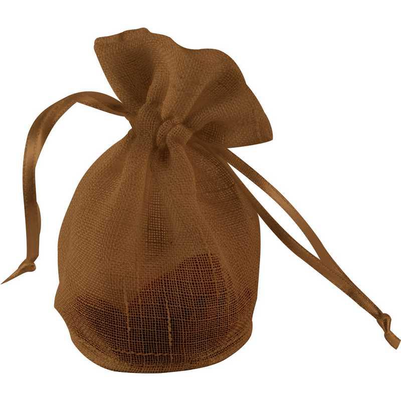 10 sacs dragées en lin chocolat 6 x 10 cm (photo)