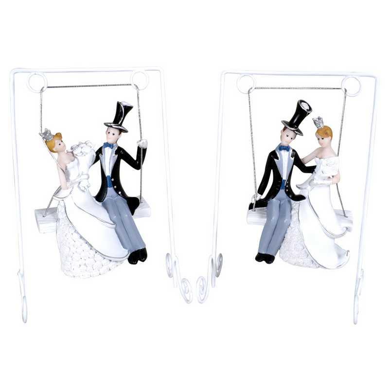 Couple de mariés haut de forme sur balancelle 2 mods ass - par 6 lots de 1