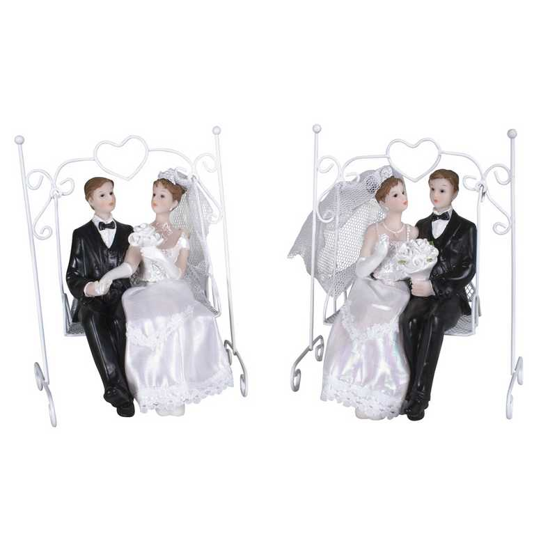 Couple de mariés sur balancelle 16,2 x 9 cm 2 mods ass - par 6 lots de 1