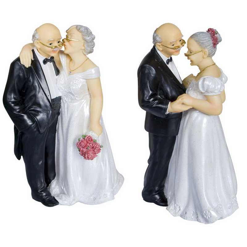 Couple de vieux mariés 15,8 x 10 x 7,2 cm 2 mod assortis - par 6 lots de 1