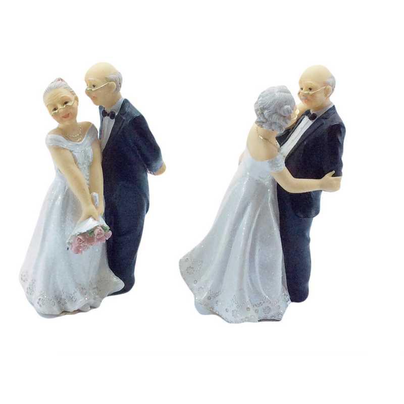 Couple de vieux mariés 12,4 x 8 x 6 cm 2 mod assortis - par 6 lots de 1