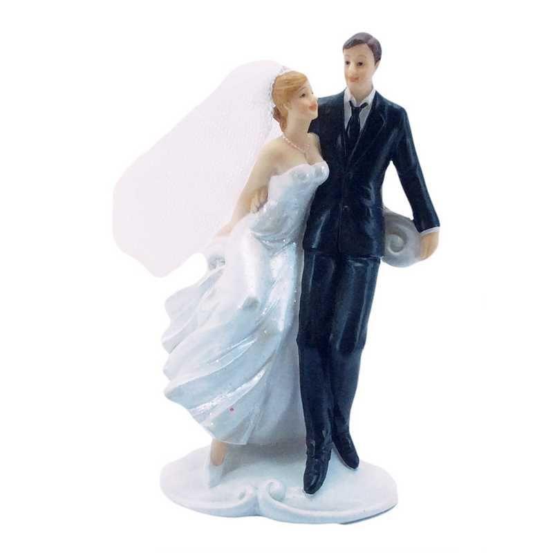 Couple de mariés pose photo 15,5 x 9,5 x 6,3 cm - par 6 lots de 1
