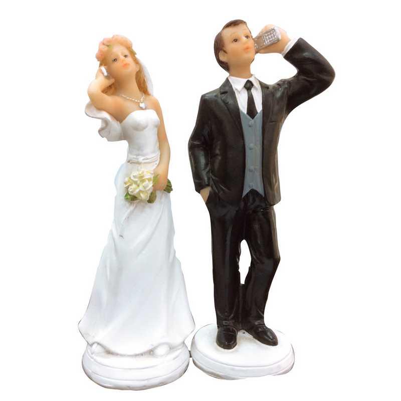 Couple de mariés fantaisie allo allo 15 x 10 x 8 cm - par 6 lots